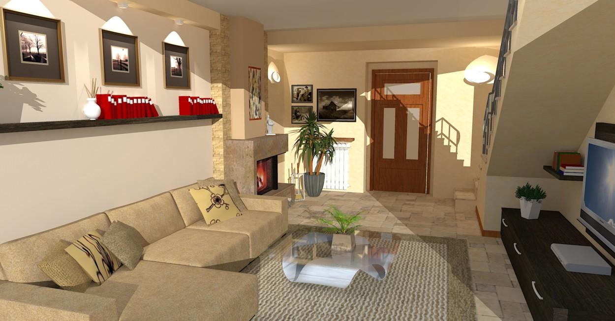 Arredamento moderno salotto con camino good soggiorno con for Salotto con camino